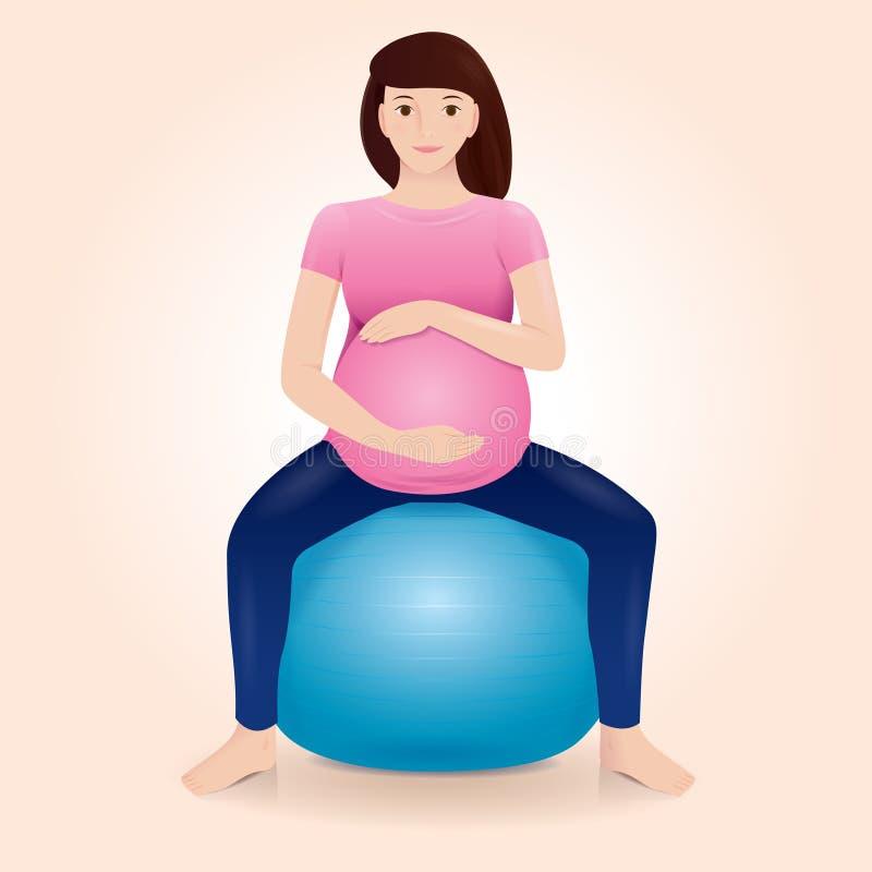 Ciężarna matka robi ćwiczeniom na gym piłce ilustracja wektor