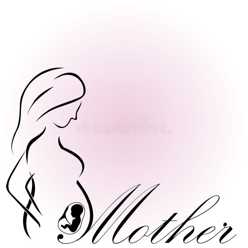 Ciężarna matka z dzieckiem w macic matek szczęśliwym dniu mama być royalty ilustracja