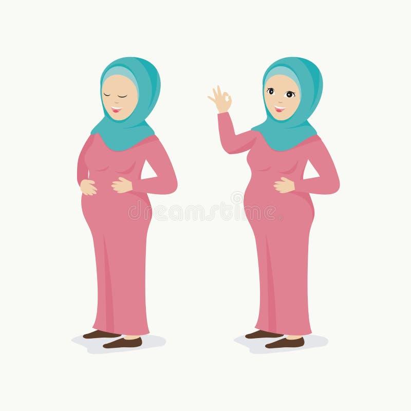Ciężarna muzułmańska kobieta z uroczym charakterem w dwa pozach, royalty ilustracja