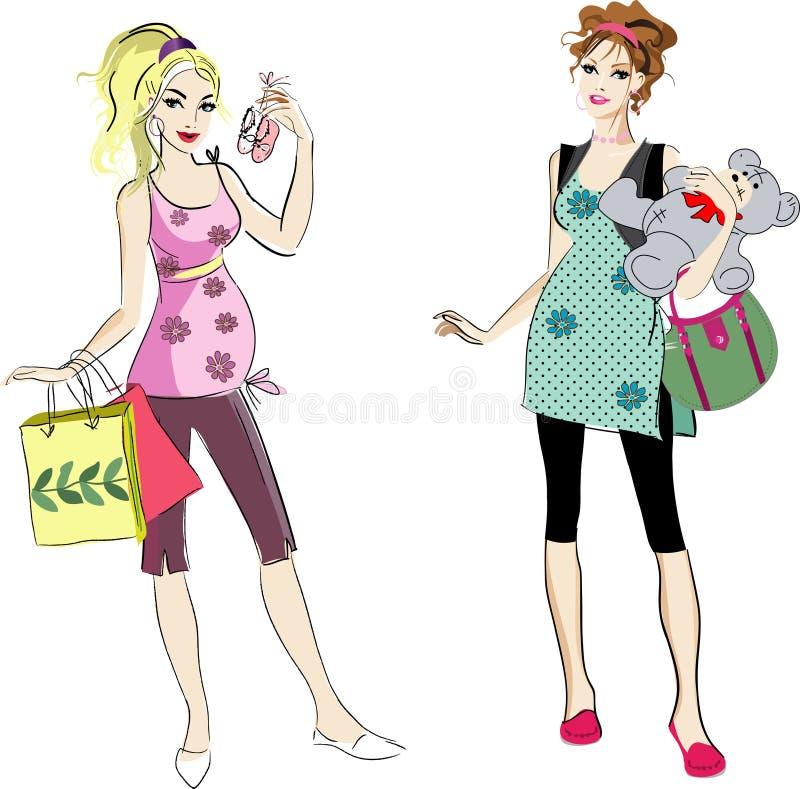 ciężarny dwa womans royalty ilustracja