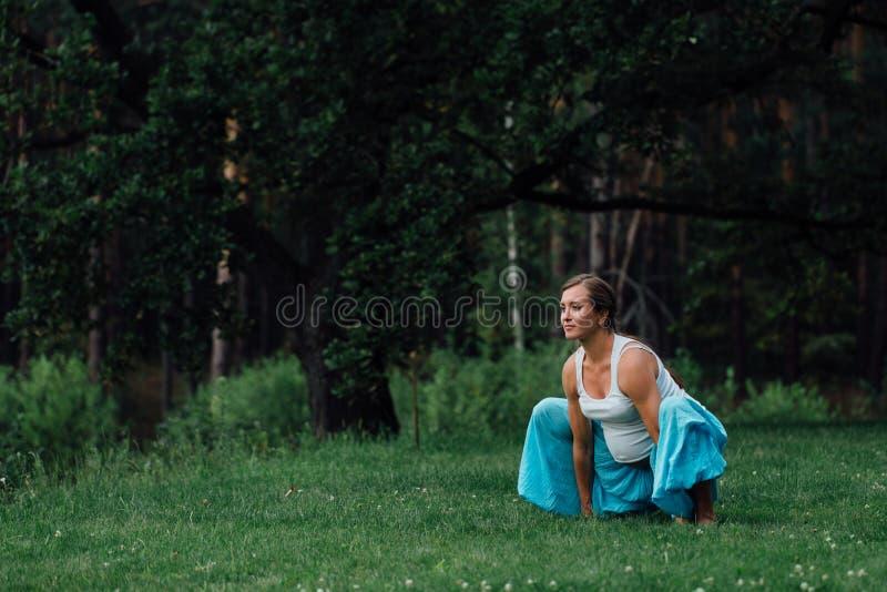 Ciężarny joga prenatal macierzyńscy robi różni ćwiczenia w parku na trawie, oddychanie, rozciąganie, ładunki elektrostatyczni zdjęcie royalty free