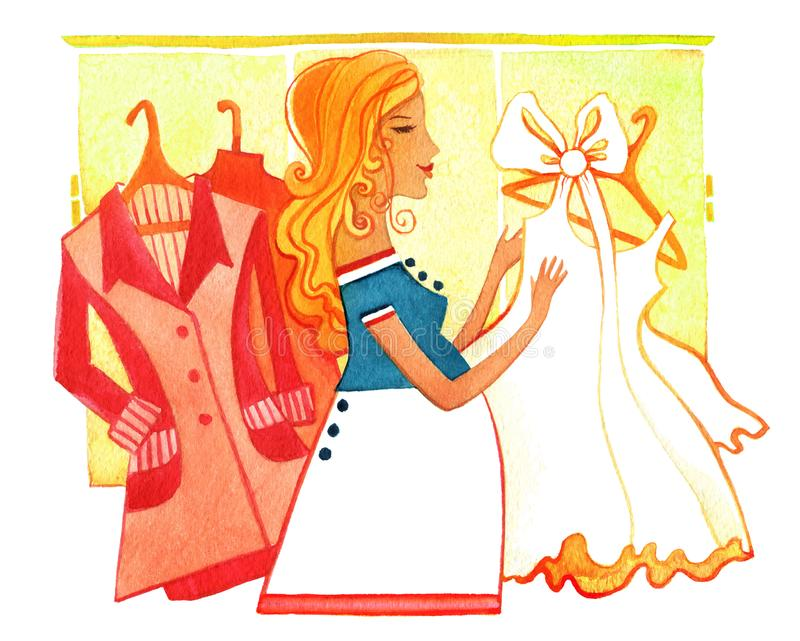 Ciężarny, kobieto w ciąży z czerwień żakietami i biel, ubiera royalty ilustracja