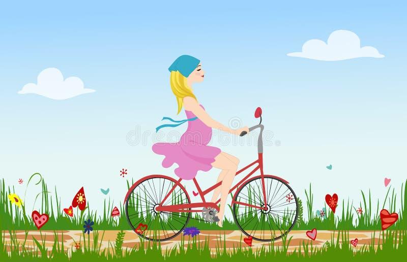 Ciężarny młodej kobiety jazdy rower na wiosny kwiecenia polu ilustracji