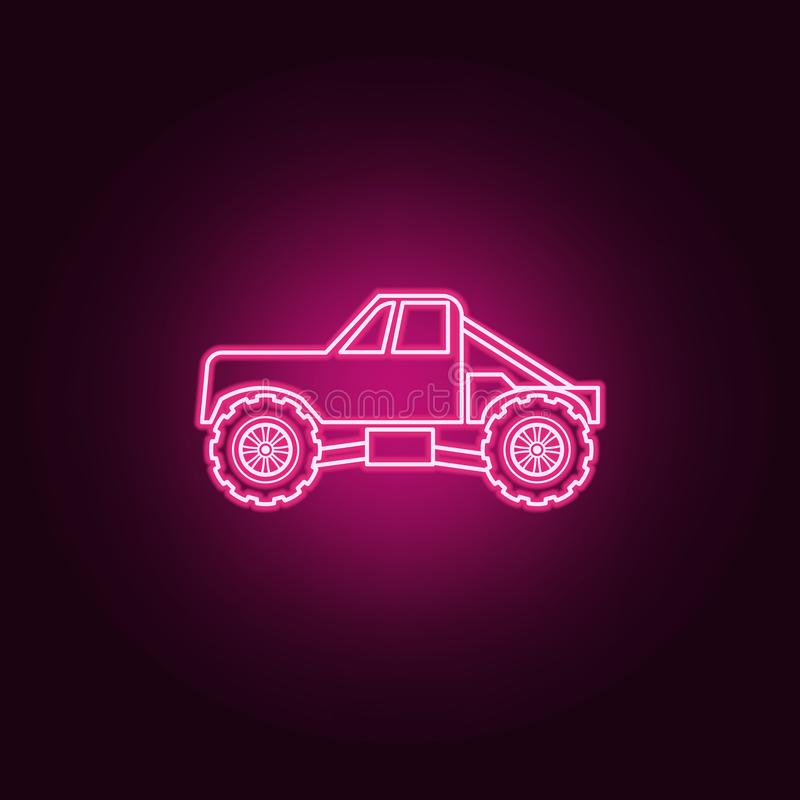 Ciężarowa Bigfoot samochodowa neonowa ikona Elementy Bigfoot samochodu set Prosta ikona dla stron internetowych, sie? projekt, mo ilustracji