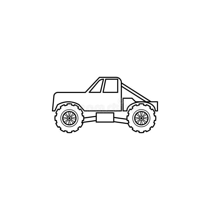 ciężarowa Bigfoot samochodu ilustracja Element ekstremum ściga się dla mobilnych pojęcia i sieci apps Cienka linii ciężarówki Big ilustracja wektor