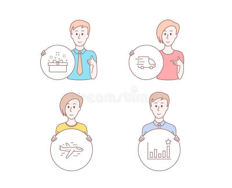 Ciężarowa dostawa, teraźniejszość ikony, pudełkowate i Samolotowe Skuteczność znak Ekspresowa usługa, sprzedaży oferta, samolot w royalty ilustracja