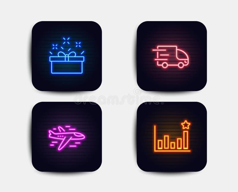 Ciężarowa dostawa, teraźniejszość ikony, pudełkowate i Samolotowe Skuteczność znak Ekspresowa usługa, sprzedaży oferta, samolot w ilustracja wektor