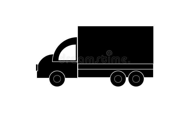 Ciężarowa ikona Podróżny pojazd - Ciężarowa ikona, odizolowywająca - Van Symbol - Płaski projekt ilustracji