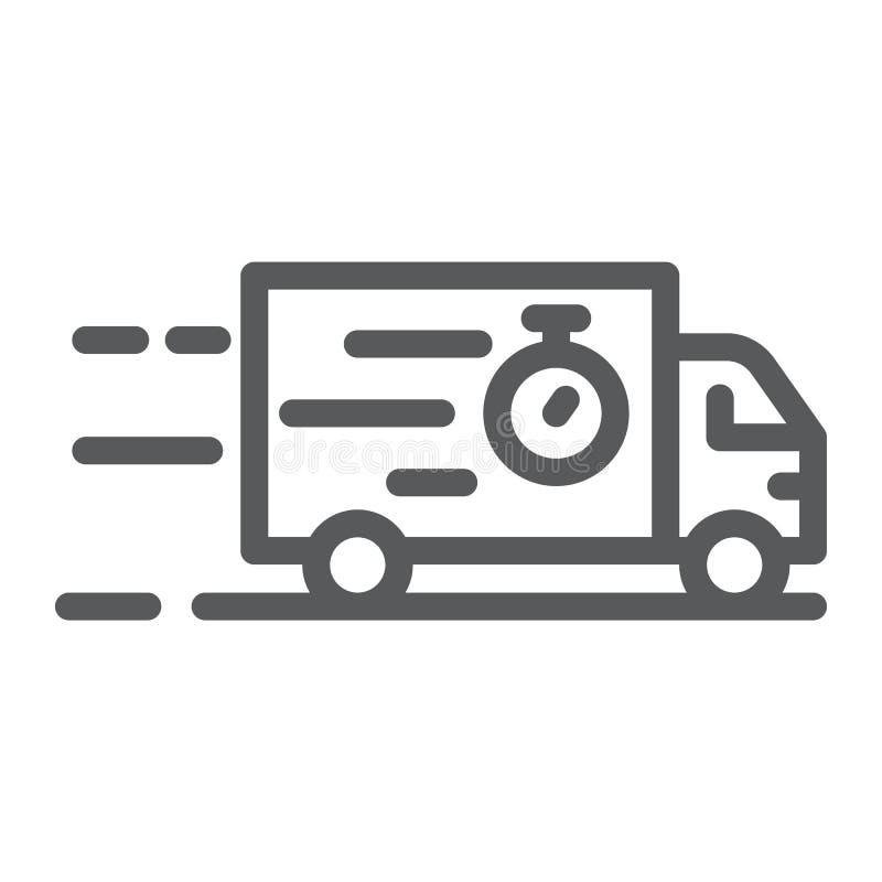 Ciężarowa kreskowa ikona, dostawa i wysyłka, ciężarówka znak, wektorowe grafika, liniowy wzór na białym tle ilustracji