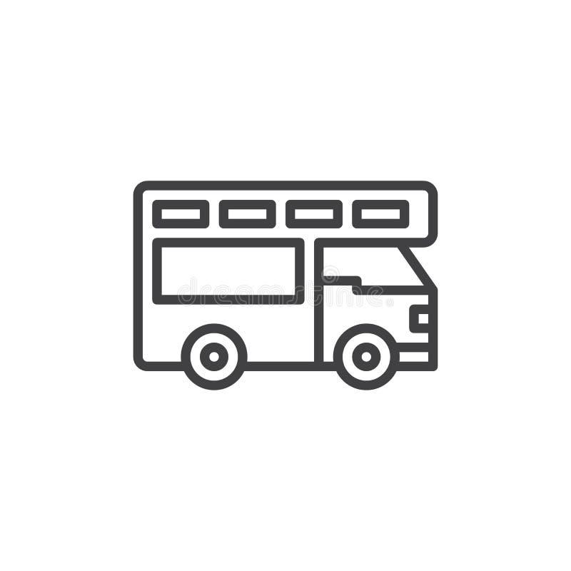 Ciężarowa obozowicz linii ikona, konturu wektoru znak, liniowy stylowy piktogram odizolowywający na bielu ilustracji