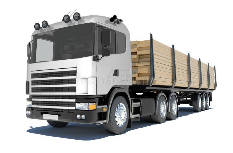 Ciężarowa odtransportowanie tarcica ilustracji