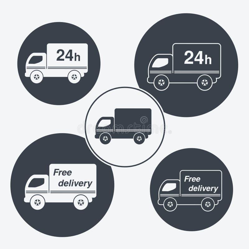 Ciężarowi symbole - dostawa wśród 24 godzin i bezpłatnej dostawy ilustracja wektor