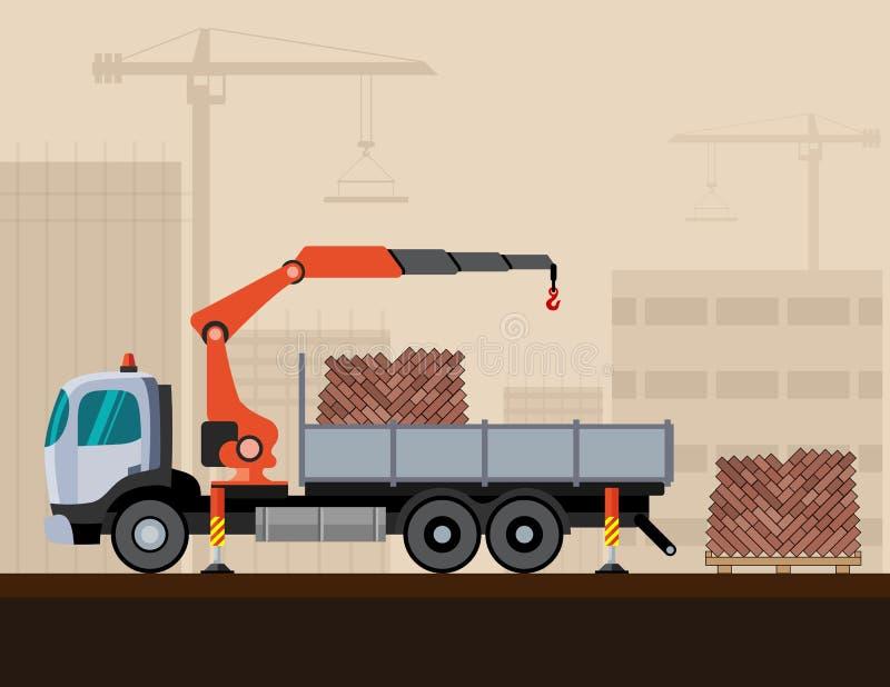 Ciężarowy żuraw z ładunkiem ilustracja wektor