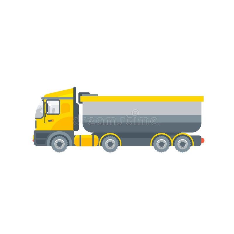 Ciężarowy ciągnik dla pyłu transportu bocznego widoku ilustracja wektor