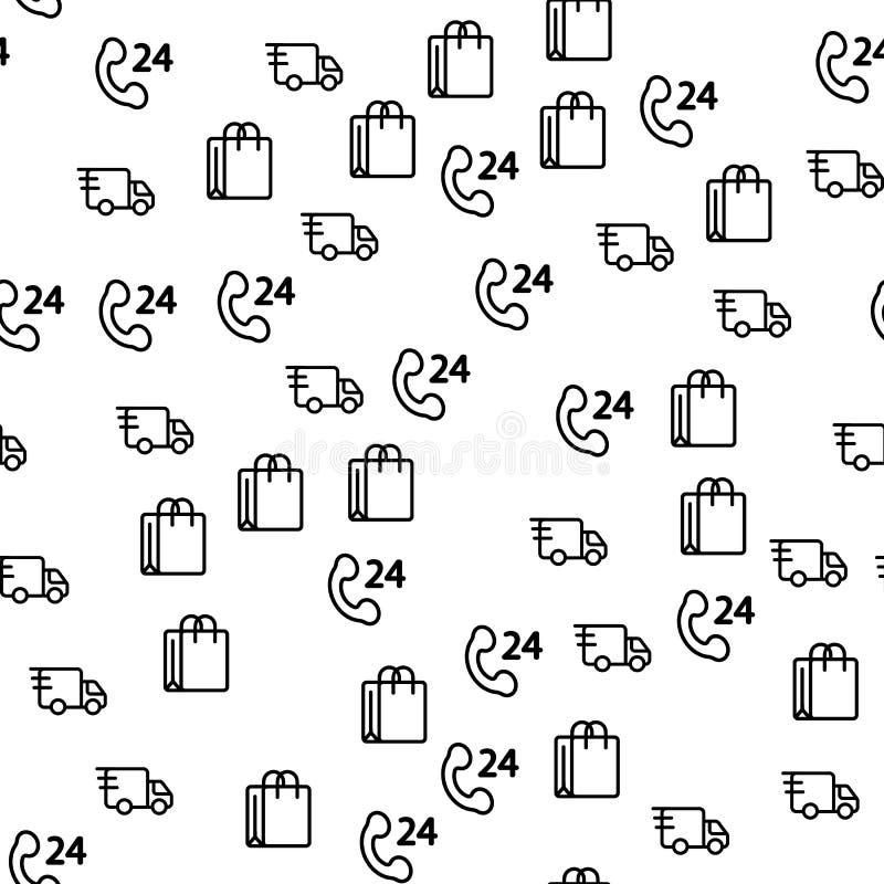 Ciężarowy Doręczeniowy Logistycznie dla sklepu Bezszwowego wzoru royalty ilustracja