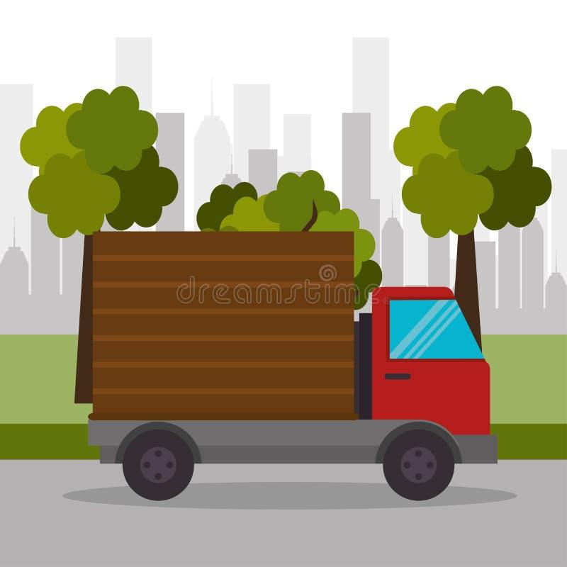 Ciężarowy doręczeniowy miasteczko transport royalty ilustracja