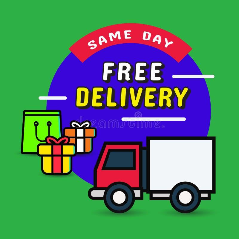 Ciężarowy doręczeniowy sztandar, ten sam dzień dostawa r?wnie? zwr?ci? corel ilustracji wektora fotografia royalty free