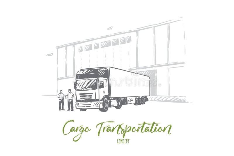 Ciężarowy dostarcza ładunek, rozładunkowi towary w magazyn, logistyka i dystrybucja, hurtowy dostawca ilustracji