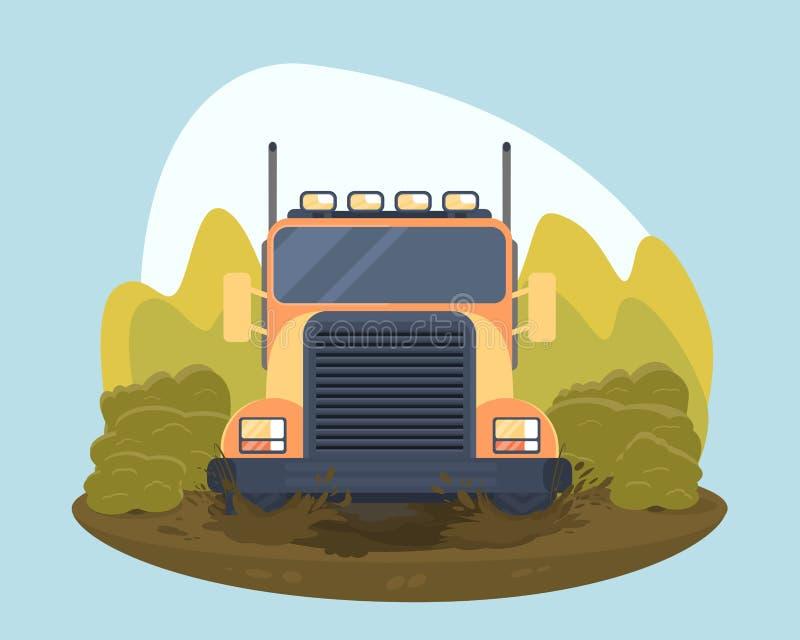 Ciężarowy próbny sporta wiec Pokonywanie borowinowe bariery na droga pojazdzie ilustracji