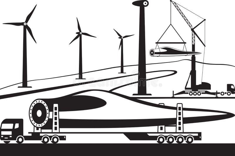 Ciężarowy przewożenie silnika wiatrowego ostrze ilustracja wektor
