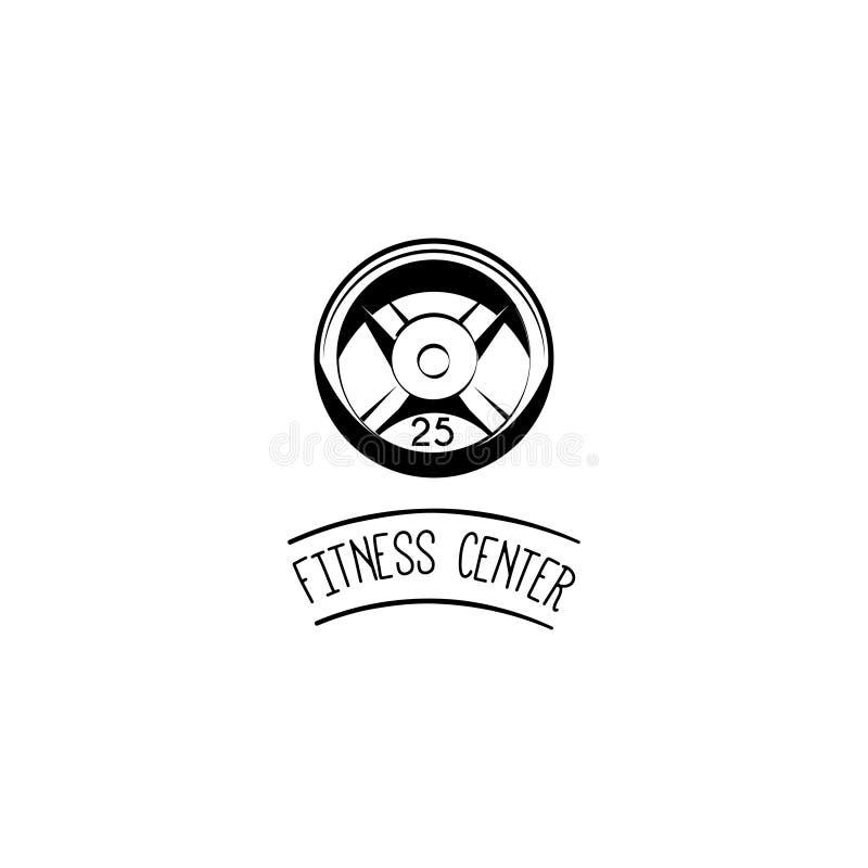 Ciężaru dyska ikona Ciężaru talerz Sprawności fizycznej centrum loga etykietki odznaka Sporta wyposażenie wektor royalty ilustracja