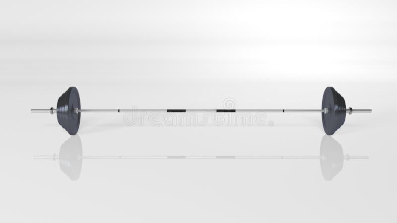Ciężary, nastawczy barbell set, sporta wyposażenie odizolowywający na białym tle, frontowy widok obraz stock