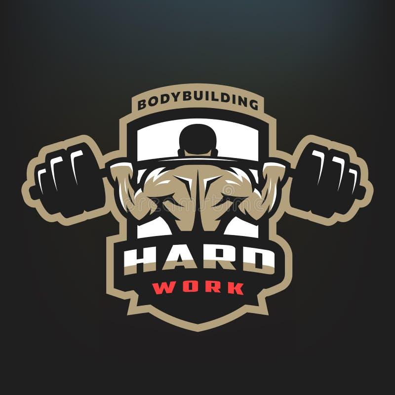 ciężka praca Bodybuilding emblemat royalty ilustracja