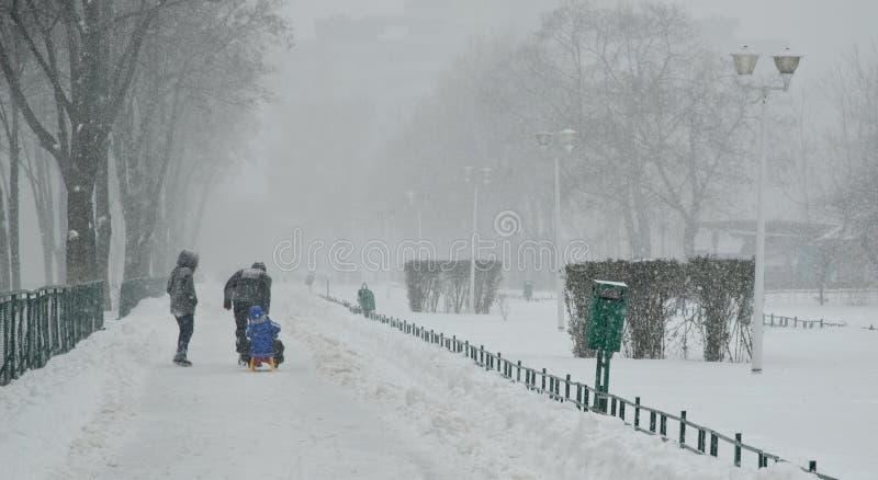 Ciężki śnieg w Bucharest zdjęcie stock