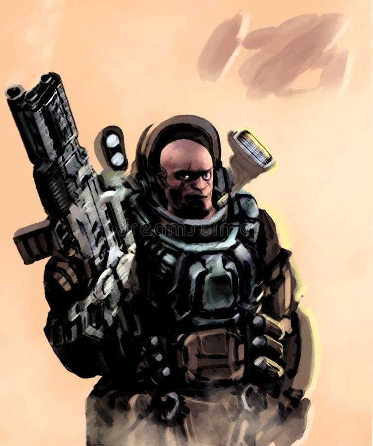 Ciężki Astronautyczny żołnierz piechoty morskiej ilustracji