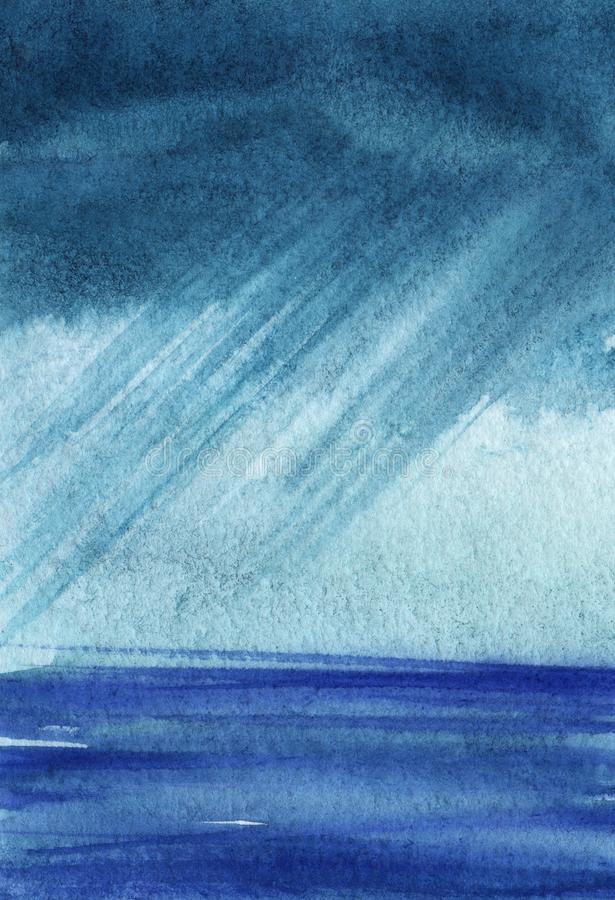 Ciężki burzowy niebo nad błękitnym morzem Nad horyzont odprawą Pochyleni strumienie deszcz Poci?gany r?cznie akwareli ilustracja ilustracja wektor
