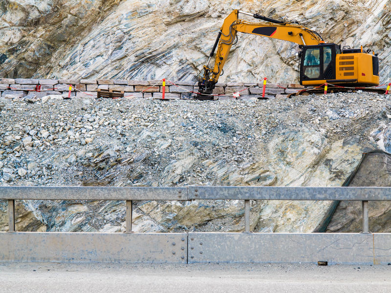 Ciężki maszynowy działanie na budowie, Norwegia fotografia stock
