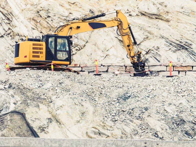 Ciężki maszynowy działanie na budowie, Norwegia obrazy royalty free