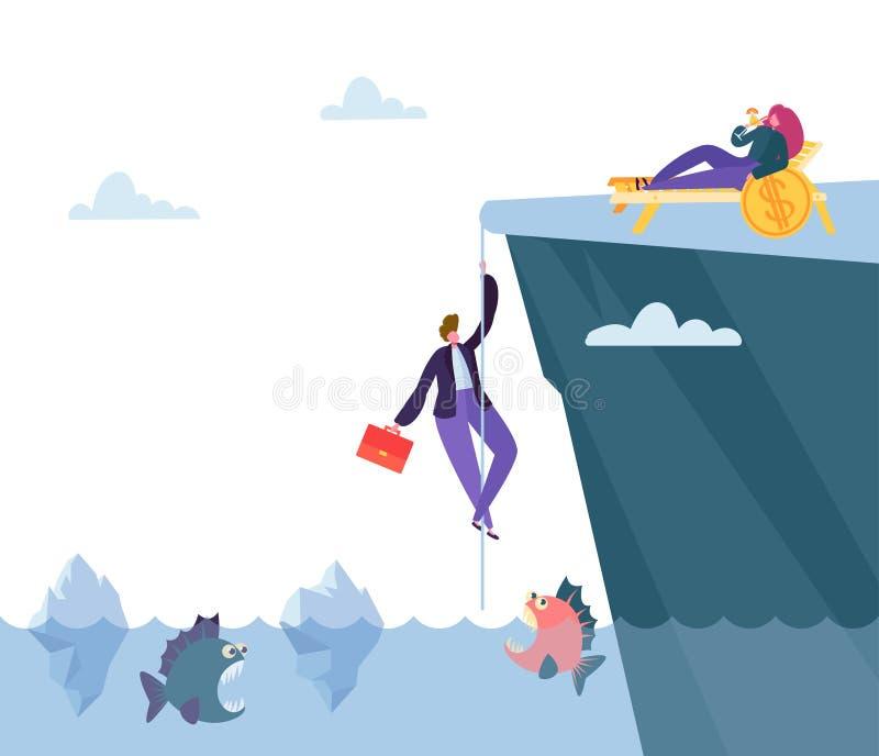 Ciężki niebezpieczeństwo sposób Pieniężny dobrobyt Biznesmen wspinaczki góra nad morze z Drapieżczą rybą Znajdować pieniądze żyłę ilustracja wektor