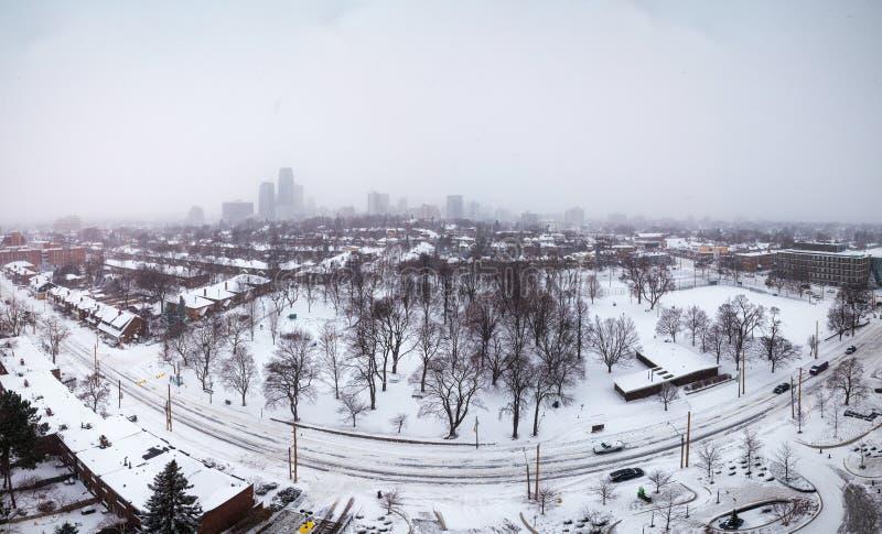 Ciężki opad śniegu w środek miasta Toronto obraz royalty free