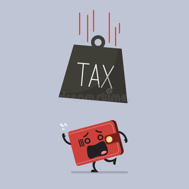 Ciężki podatek spada przelękły portfel ilustracji