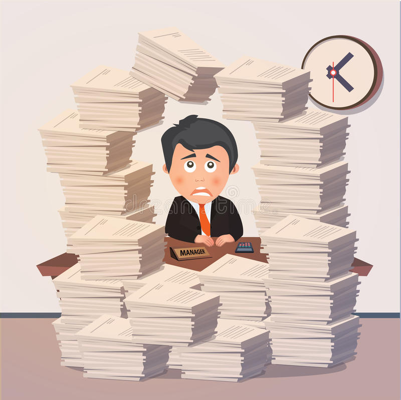 Ciężki pracujący wieczór w biurze wektor royalty ilustracja