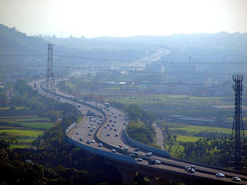 Ciężki zanieczyszczenie na autostradzie w Tajwan zdjęcia royalty free