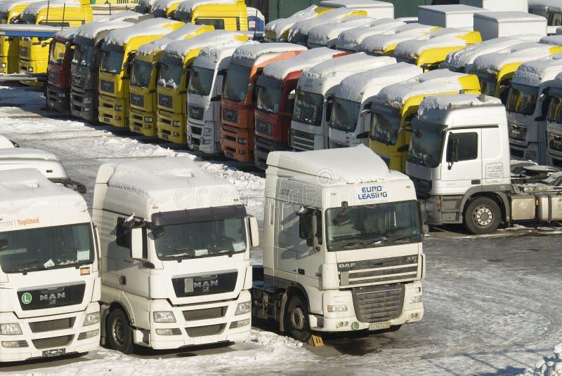 ciężkie Moscow nowe sprzedaży ciężarówki używać fotografia stock