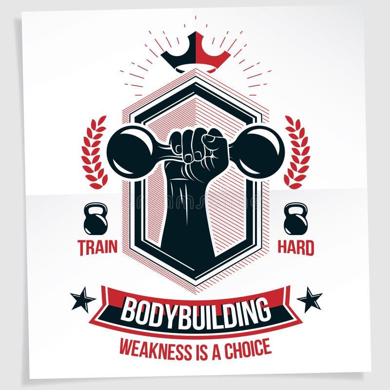 Ciężkiego ładunku władzy podnośnego mistrzostwa wektorowy reklamowy plakat tworzył z silnym mięśniowym bodybuilder ręki mienia du ilustracji