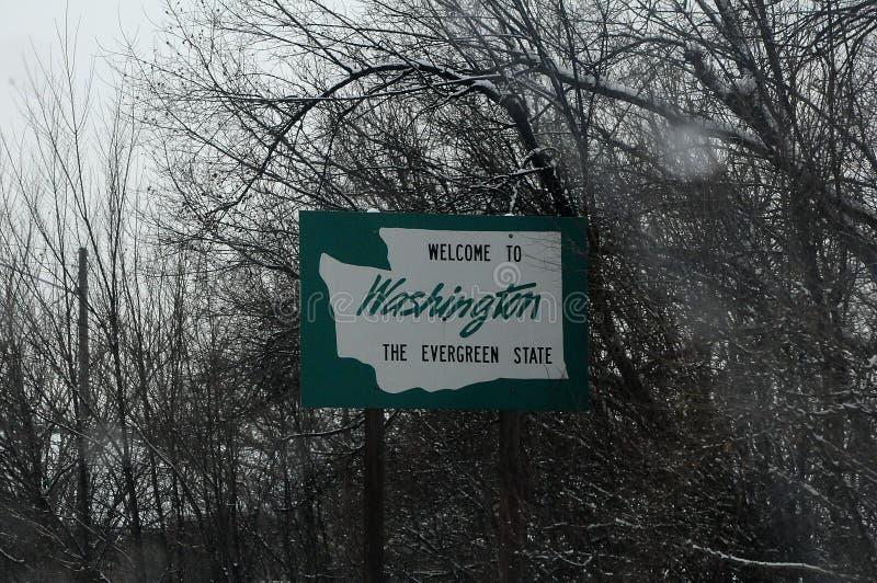 CIĘŻKIEGO śniegu pogody powitanie WASZYNGTON obraz royalty free