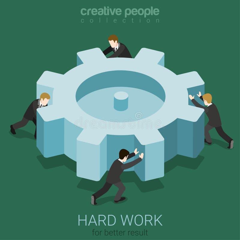 Ciężkiej pracy cogwheel spinowego pojęcia mikro ludzie royalty ilustracja