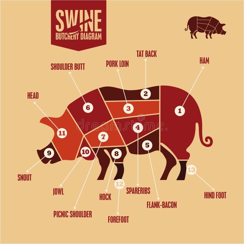 Cięcia wieprzowina w kolorze Chlewni butchery diagram Grill, Wieprzowiny mięsa cięcia ilustracji