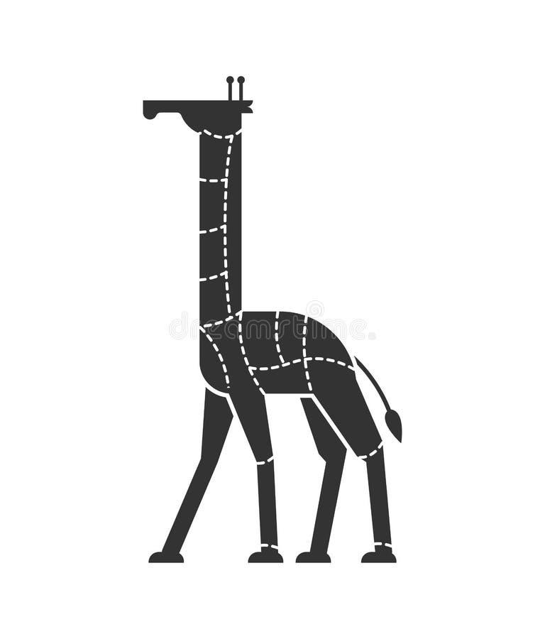 Cięcie mięsna żyrafa Camelopard sylwetki planu linie diffe royalty ilustracja