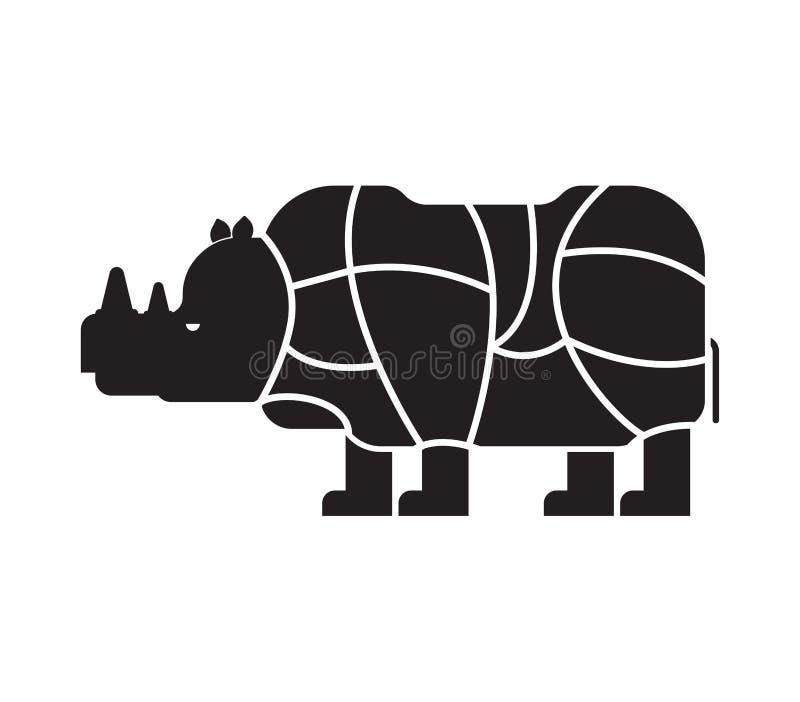 Cięcie mięsna nosorożec Nosorożec sylwetki planu linie differe ilustracja wektor