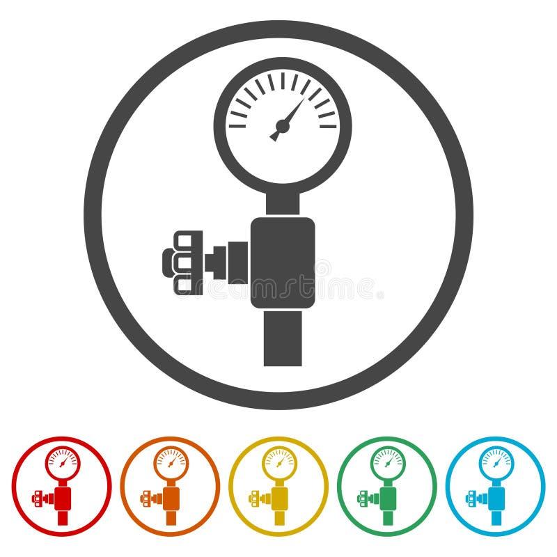 Ciśnieniowy wymiernik, manometr ikona, Ciśnieniowa metrowa ikona, 6 kolorów Zawierać royalty ilustracja