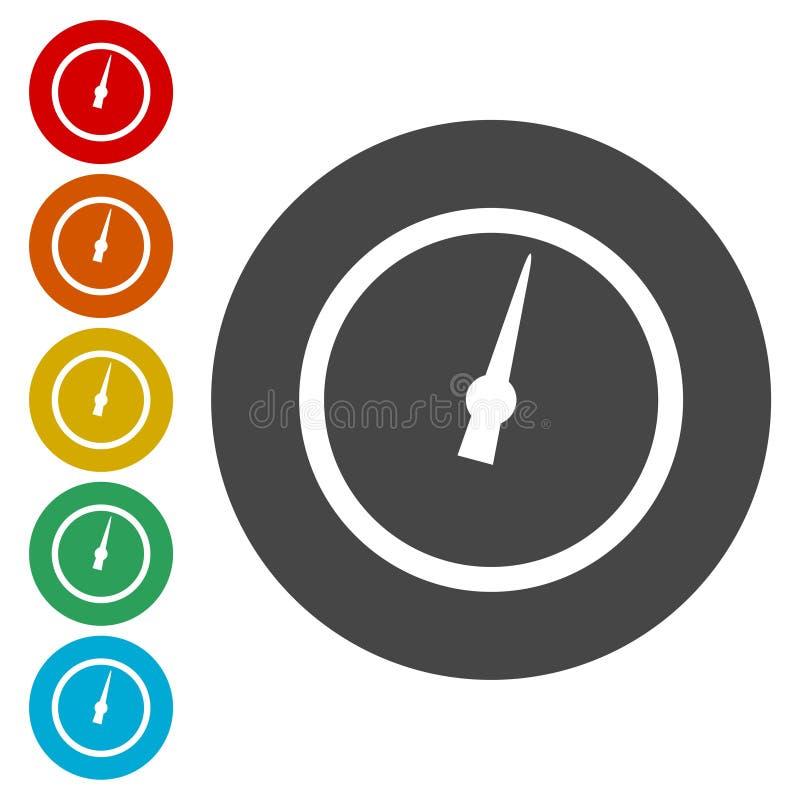 Ciśnieniowy wymiernik - manometr ikony ustawiać ilustracji