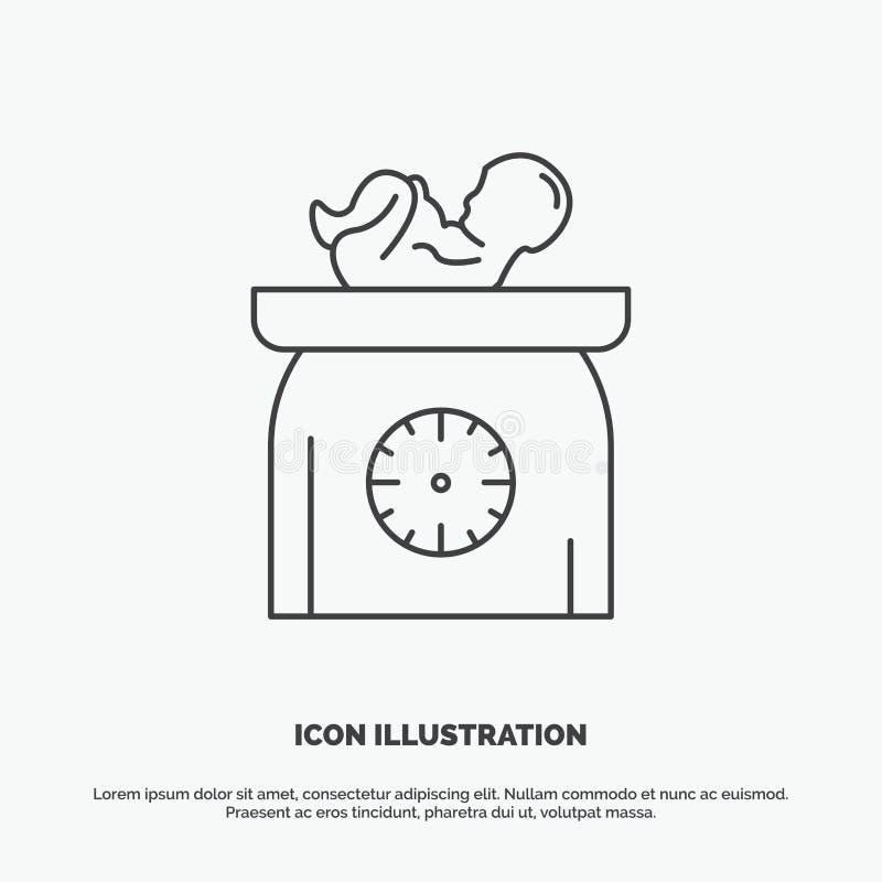 ci??ar, dziecko, Nowonarodzony, skale, dzieciak ikona Kreskowy wektorowy szary symbol dla UI, UX, strona internetowa i wisz?cej o ilustracji