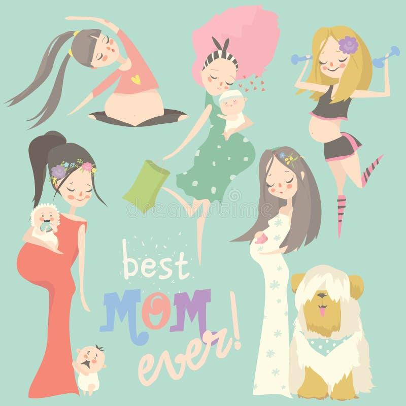 Ci??arny moda set Szcz??liwa kobiety mama oczekuje dziecka w sukniach royalty ilustracja