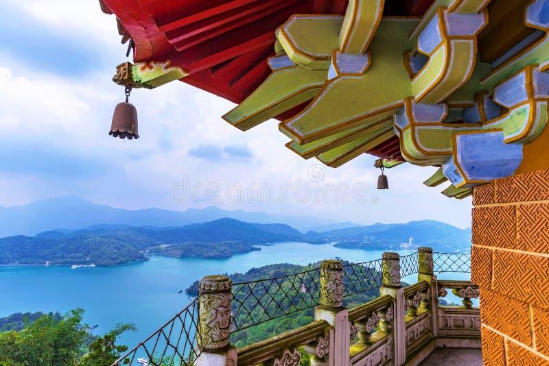 Ci`en pagoda architecture. With Sun Moon Lake stock photo