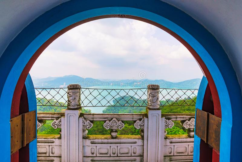 Ci`en pagoda architecture. With Sun Moon Lake in the background royalty free stock photo